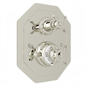Polished Nickel Perrin & Rowe Edwardian Octagonal Concealed Thermostatic Trim With Volume Control with Edwardian Cross Handle