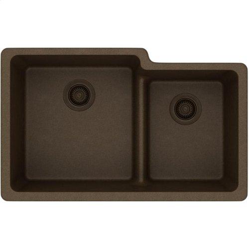 "Elkay Quartz Classic 33"" x 20-1/2"" x 9-1/2"", Offset 60/40 Double Bowl Undermount Sink with Aqua Divide, Mocha"