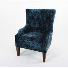 Transitional button tufted back chair with sloping shaped arms