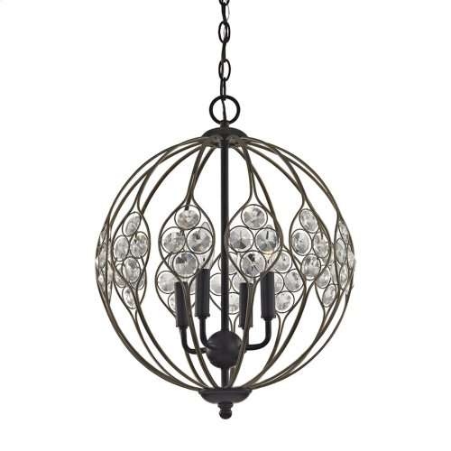 Crystal Web 4-Light Chandelier in Bronze and Matte Black with Clear Crystal