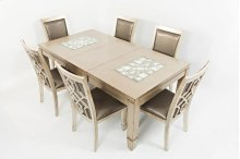 Casa Bella Rectangle Dining Table W/extension Leaf- Vintage Silver