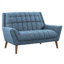 Armen Living Cobra Mid-Century Modern Loveseat in Blue Linen and Walnut Legs