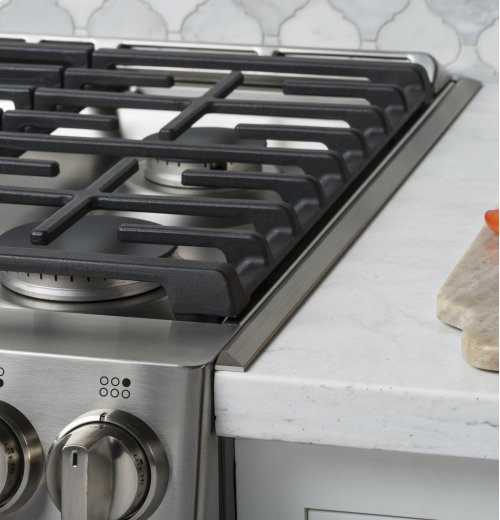 """GE Cafe™ Series 30"""" Slide-In Front Control Dual-Fuel Double Oven with Convection Range"""