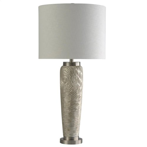 Champagne Silver  Traditional Steel Accented Table Lamp  150W  3-Way  Hardback Shade