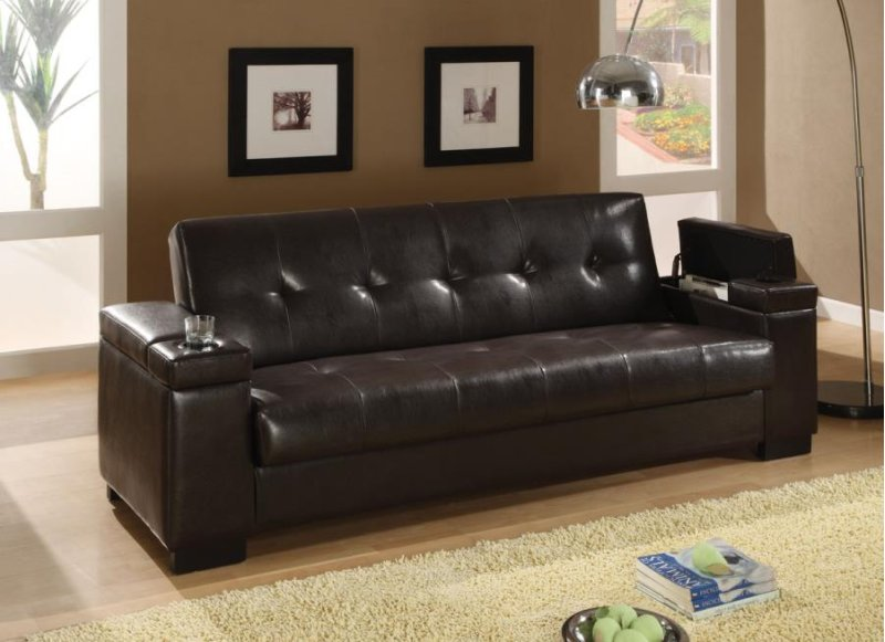300143 in by Coaster in HARLINGEN, TX - Transitional Dark Brown Sofa Bed