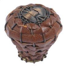 Hamptons Saddle Leather Knob 1 1/2 Inch - Aged Bronze