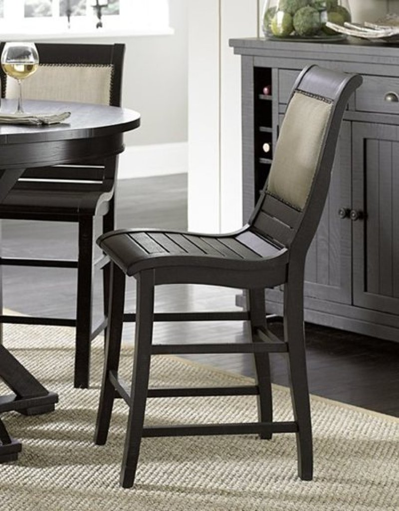 Counter upholstered chair distressed black finish