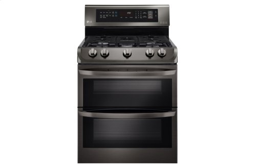 Red Hot Buy! LG Black Stainless Steel Series 6.9 cu. ft. Gas Double Oven Range with ProBake Convection®, EasyClean®