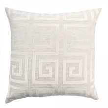Laguna Contemporary Decorative Feather and Down Throw Pillow In White Applique Embroidery Fabric