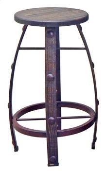 Medium W Wax Round Barstool