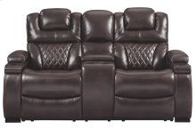 Warnerton Chocolate Power Reclining Loveseat/CON/ADJ HDRST
