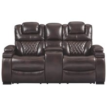 Warnerton Chocolate Power Reclining Loveseat /CON/ADJ HDRST