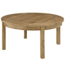 Marina Outdoor Patio Teak Round Coffee Table in Natural