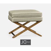 Rectangular Light Brown Chestnut Stool, Upholstered in MAZO