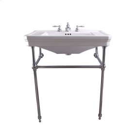 """Drew 30"""" Console with Brass Stand - Brushed Nickel"""