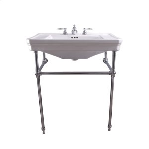 """Drew 30"""" Console with Brass Stand - Brushed Nickel Product Image"""