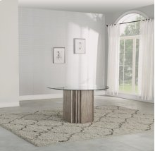 Vogue Round Pedestal Glass-Top Dining Table