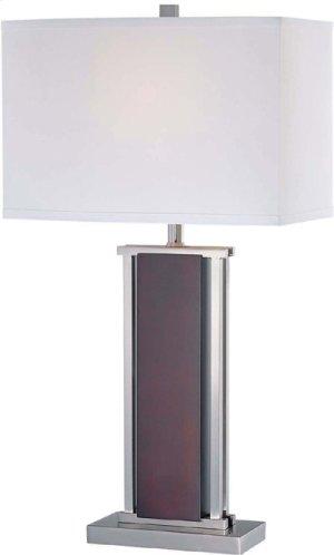 Table Lamp, Ps/dark Walnut W/white Fabric Shade, Type A 100w