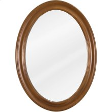 """23-3/4"""" x 31-1/2"""" Oval mirror with beveled glass and Caramel finish."""