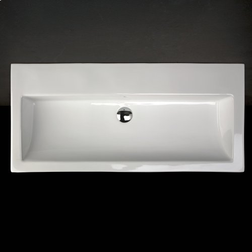 """Wall-mount structure made of brushed stainless steel for lavatory 5460, with one wooden shelf and a towel bar, 38 3/4""""W, 17 3/4""""D, 13 3/4""""H"""