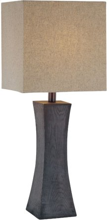 Table Lamp,dark Walnut Finish/linen Fabric Shd,cfl 25w/3-way