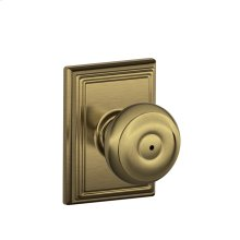 Georgian Knob with Addison trim Bed & Bath Lock - Antique Brass