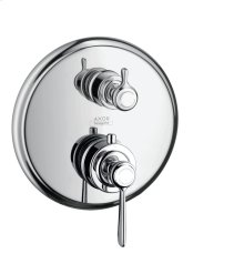 Chrome Thermostatic mixer for concealed installation with shut-off/ diverter valve and lever handle