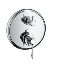 Chrome Thermostat for concealed installation with lever landle and shut-off/ diverter valve