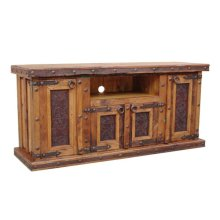 TV Stand W/Tooled Leather