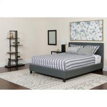 Chelsea Queen Size Upholstered Platform Bed in Dark Gray Fabric