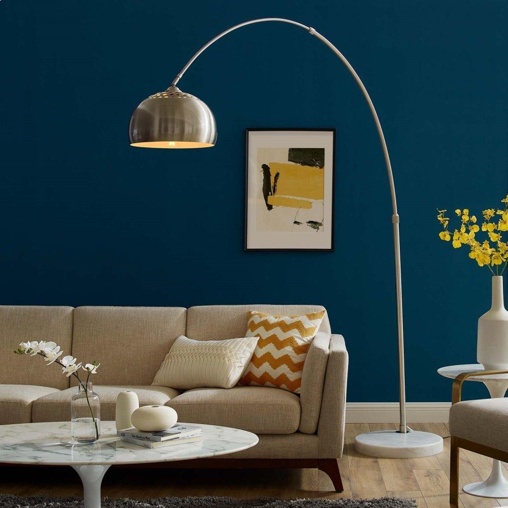 Sunflower Round Marble Base Floor Lamp in White
