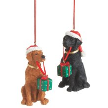 Lab with Gift Ornament (3 asstd).