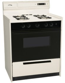 "Deluxe Bisque Gas Range In 30"" Width With Electronic Ignition, Digital Clock/timer, Black See-through Glass Oven Door and Light; Replaces Stm2307dk"