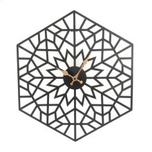 Black/gold Metal Hexagon Clock, Wb