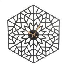 Black/gold Metal Hexagon Clock, Wb