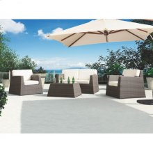 Armen Living Transitional Outdoor Aruba 4-piece Outdoor Wicker Set with White Cushions