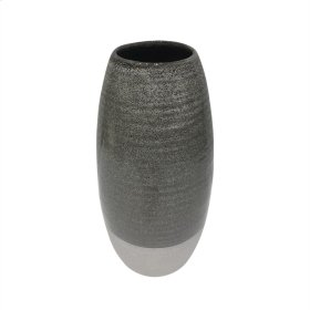 "Ceramic 12"" Vase, Gray/white"