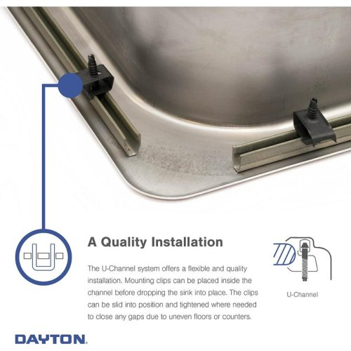 "Dayton Stainless Steel 33"" x 21-1/4"" x 5-3/8"", Equal Double Bowl Drop-in Sink"