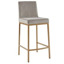 Diego 26'' Counter Stool, set of 2, in Grey with Gold Legs