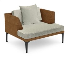 "42"" Outdoor Tan Rattan Single Sofa Lounger, Upholstered in Standard Outdoor Fabric"