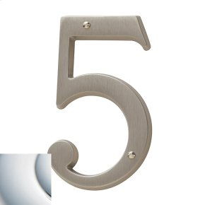 Polished Chrome House Number - 5