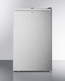 """Commercially Listed 20"""" Wide Built-in Refrigerator-freezer With A Lock, Stainless Steel Door, Horizontal Handle and Black Cabinet"""
