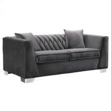 Armen Living Cambridge Contemporary Loveseat in Brushed Stainless Steel and Dark Grey Velvet