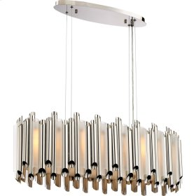 Pipeline Island Chandelier in Polished Nickel