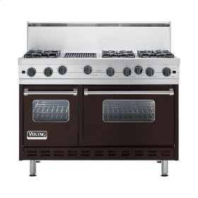 "Chocolate 48"" Open Burner Commercial Depth Range - VGRC (48"" wide, six burners 12"" wide char-grill)"
