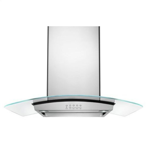 "36"" Modern Glass Island Mount Range Hood - stainless steel"