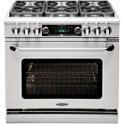 "36"" Range w/ 6 Sealed Burners @ 19K BTU's / hr Dual Fuel Self Clean"