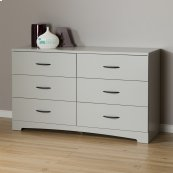 6-Drawer Double Dresser - Soft Gray