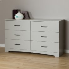 6-Drawer Double Dresser - Soft Gray