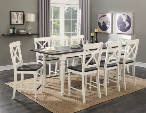 """Emerald Home Mountain Retreat Gather Table W/18"""" Butterfly Leaf Top:brn Base:white D601-13"""